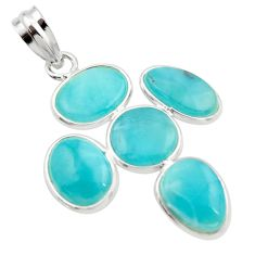 925 sterling silver 13.13cts natural blue larimar fancy pendant jewelry r34924