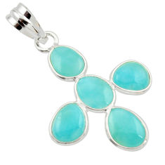 925 sterling silver 8.46cts natural blue larimar fancy pendant jewelry r34931
