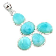 925 sterling silver 14.73cts natural blue larimar fancy pendant jewelry r34946