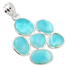 925 sterling silver 14.73cts natural blue larimar fancy pendant jewelry r34964