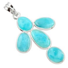925 sterling silver 14.08cts natural blue larimar fancy pendant jewelry r34971