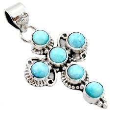 925 sterling silver 5.31cts natural blue larimar holy cross pendant r34984
