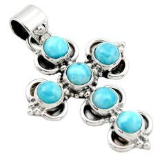 925 sterling silver 6.24cts natural blue larimar holy cross pendant r34989