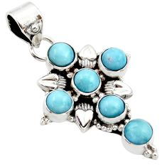 925 sterling silver 5.78cts natural blue larimar holy cross pendant r34997