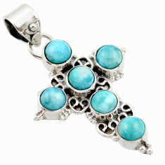 925 sterling silver 5.52cts natural blue larimar holy cross pendant r35004