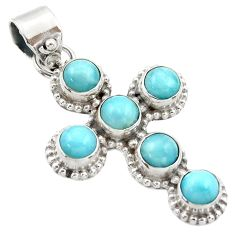 925 sterling silver 5.74cts natural blue larimar holy cross pendant r35011