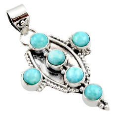 925 sterling silver 5.53cts natural blue larimar holy cross pendant r35015