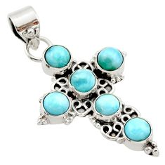 925 sterling silver 5.31cts natural blue larimar holy cross pendant r35018