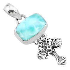 925 sterling silver 4.18cts natural blue larimar holy cross pendant r72358