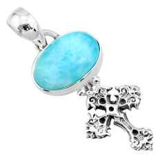 925 sterling silver 3.83cts natural blue larimar holy cross pendant r72393