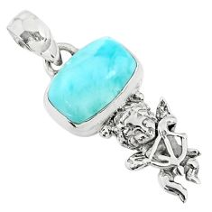 925 sterling silver 4.08cts natural blue larimar octagan angel pendant r72376