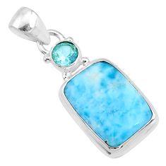 925 sterling silver 13.15cts natural blue larimar octagan topaz pendant r69339