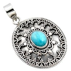925 sterling silver natural blue larimar oval boho pendant jewelry r46967