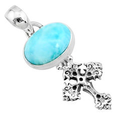 925 sterling silver 3.98cts natural blue larimar oval holy cross pendant r72391
