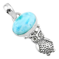 925 sterling silver 3.83cts natural blue larimar oval owl pendant jewelry r72373