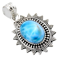 925 sterling silver 6.54cts natural blue larimar oval pendant jewelry r53172