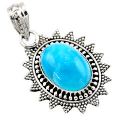 925 sterling silver 6.85cts natural blue larimar oval pendant jewelry r53176