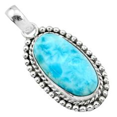 925 sterling silver 13.26cts natural blue larimar oval pendant jewelry r72488