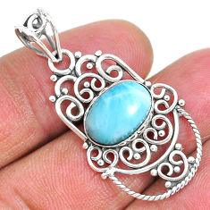 925 sterling silver 4.26cts natural blue larimar oval pendant jewelry r93884