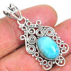 925 sterling silver 4.20cts natural blue larimar oval pendant jewelry r93887