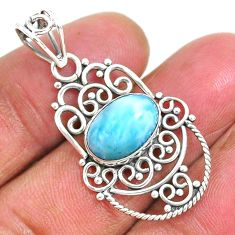 925 sterling silver 4.20cts natural blue larimar oval pendant jewelry r93891