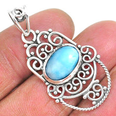 925 sterling silver 4.64cts natural blue larimar oval pendant jewelry r93907