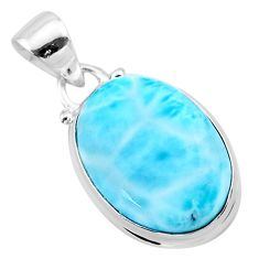 925 sterling silver 12.68cts natural blue larimar oval pendant jewelry t24373