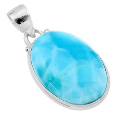 925 sterling silver 17.42cts natural blue larimar oval pendant jewelry t24424