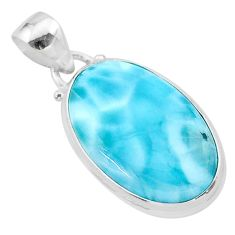 925 sterling silver 13.63cts natural blue larimar oval pendant jewelry t24431