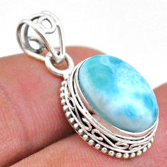 925 sterling silver 5.98cts natural blue larimar oval pendant jewelry t46763