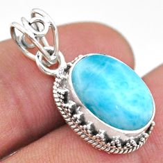 925 sterling silver 6.48cts natural blue larimar oval pendant jewelry t46767
