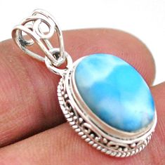 925 sterling silver 6.19cts natural blue larimar oval pendant jewelry t46777