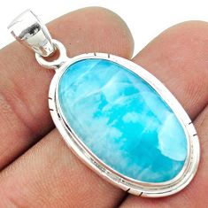 925 sterling silver 17.57cts natural blue larimar oval pendant jewelry t56496