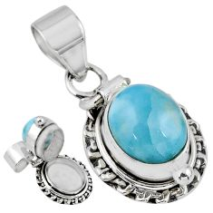 925 sterling silver 5.41cts natural blue larimar oval poison box pendant r55623