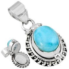 925 sterling silver 5.41cts natural blue larimar oval poison box pendant r55626