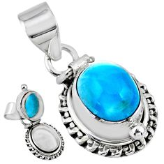 925 sterling silver 5.41cts natural blue larimar oval poison box pendant r55647