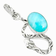 925 sterling silver 3.64cts natural blue larimar oval snake pendant r78583