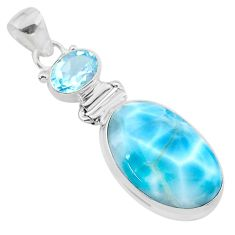 925 sterling silver 16.03cts natural blue larimar oval topaz pendant t24537