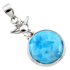 925 sterling silver 15.02cts natural blue larimar owl pendant jewelry r50324