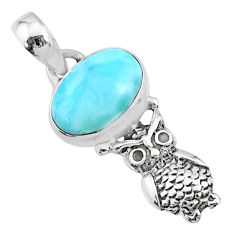 925 sterling silver 4.18cts natural blue larimar owl pendant jewelry r72343