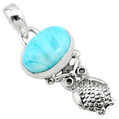 925 sterling silver 3.83cts natural blue larimar owl pendant jewelry r72372