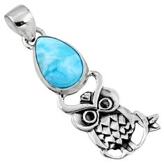 925 sterling silver 4.70cts natural blue larimar pear owl pendant r52911