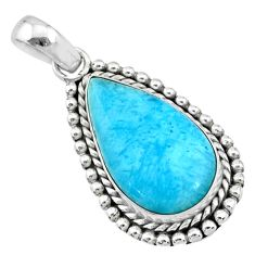925 sterling silver 12.44cts natural blue larimar pear pendant jewelry r72504