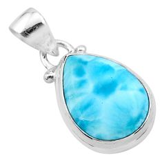 925 sterling silver 8.12cts natural blue larimar pear pendant jewelry t24370