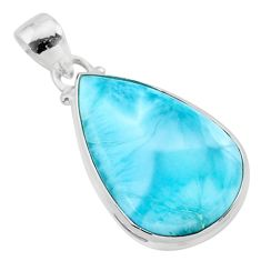 925 sterling silver 14.09cts natural blue larimar pear pendant jewelry t24449