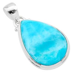 925 sterling silver 15.10cts natural blue larimar pear pendant jewelry t24458