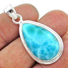 925 sterling silver 16.54cts natural blue larimar pear pendant jewelry t56518