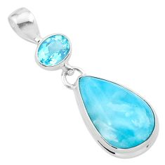 925 sterling silver 15.02cts natural blue larimar pear topaz pendant t24518