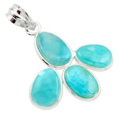 925 sterling silver 13.69cts natural blue larimar pendant jewelry r34928