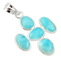 925 sterling silver 10.72cts natural blue larimar pendant jewelry r34935
